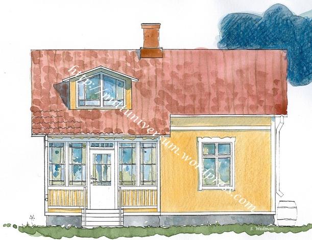 Akvarellerad gul fasad